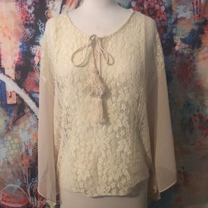 Sheet ivory lace poncho style hippie top Coachella